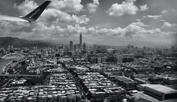 Grayscale Photography of Aerial View of City