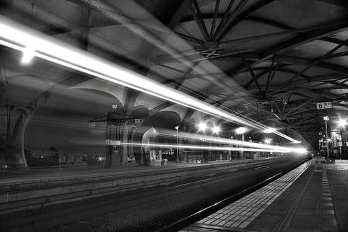 Timelapse Photo of Greyscale Train Passing by