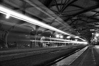 light, black-and-white, train