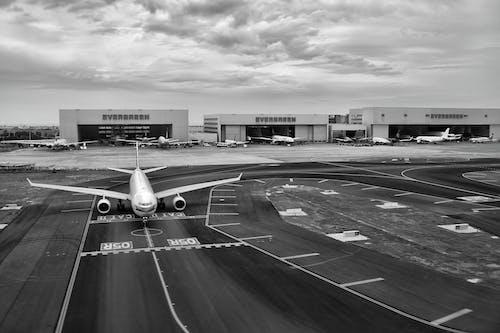 Imagine de stoc gratuită din aeronavă, aeroport, alb-negru, asfalt