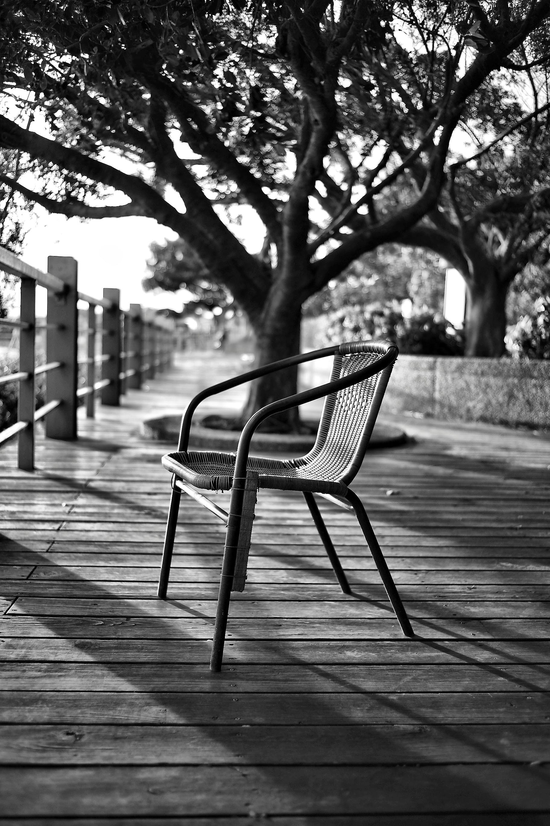 Grey-scale Photo of Chair