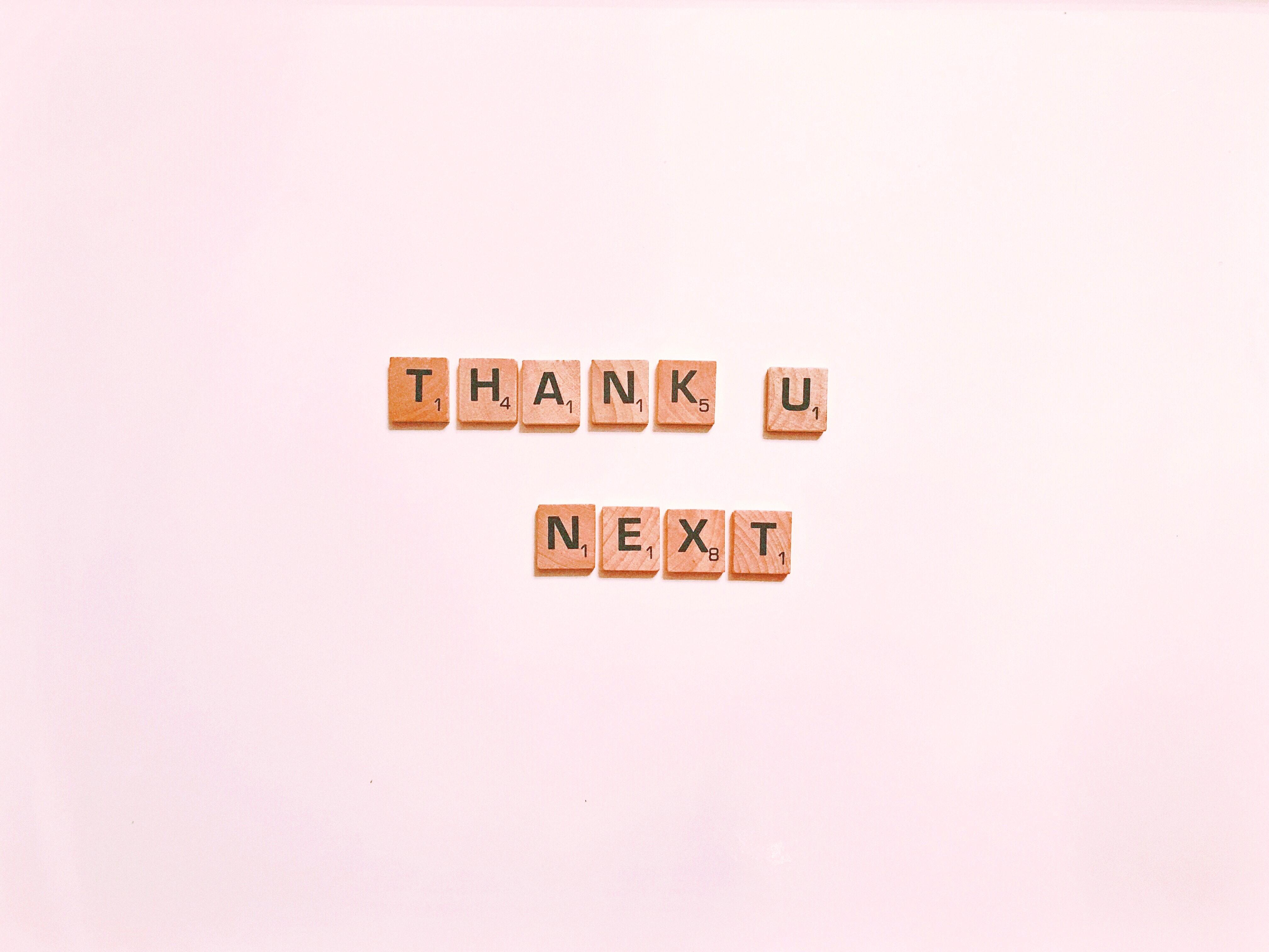 "scrabble words ""thank u, next"""