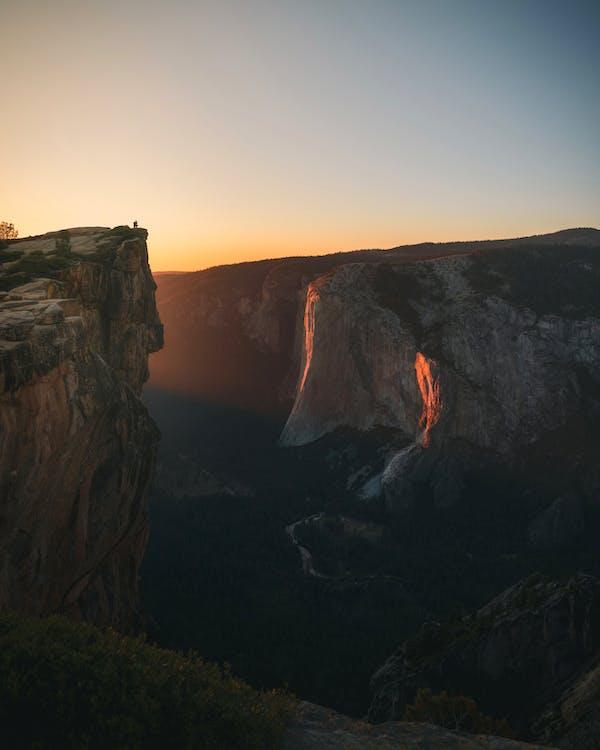 berg, dagsljus, gryning