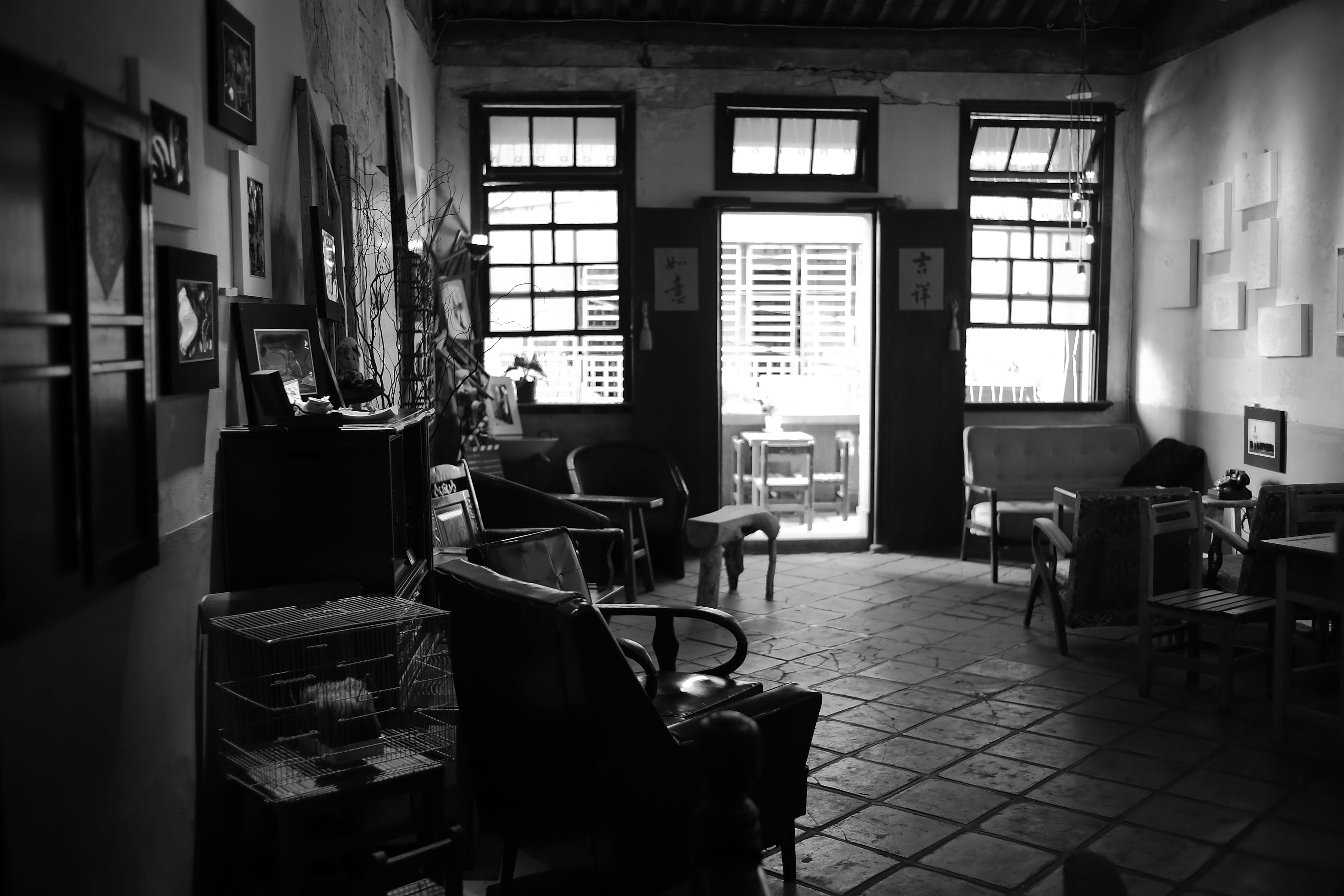 Foto d'estoc gratuïta de blanc i negre, cadires, finestres, habitació