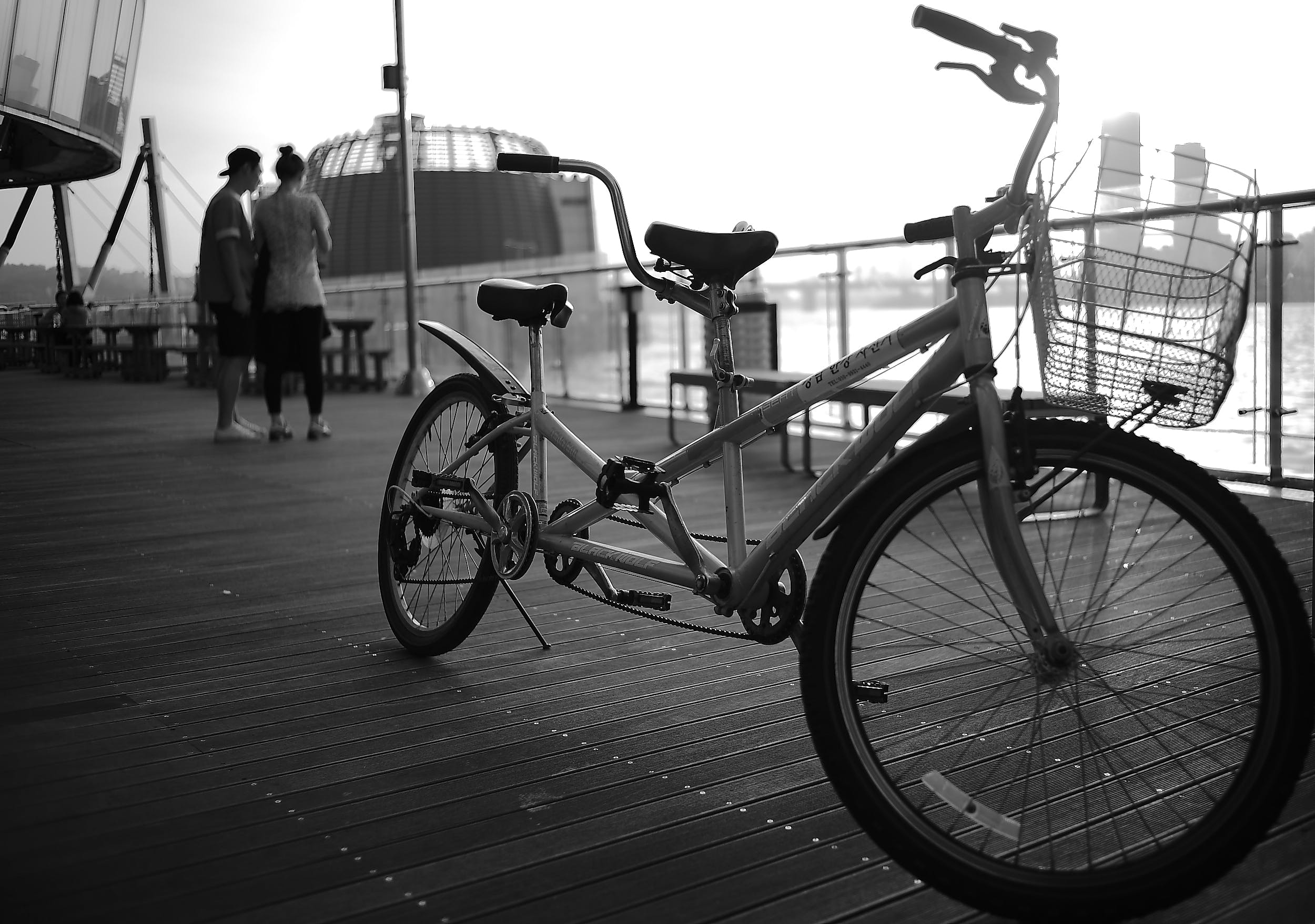 Grayscale Photography of Tandem Bike