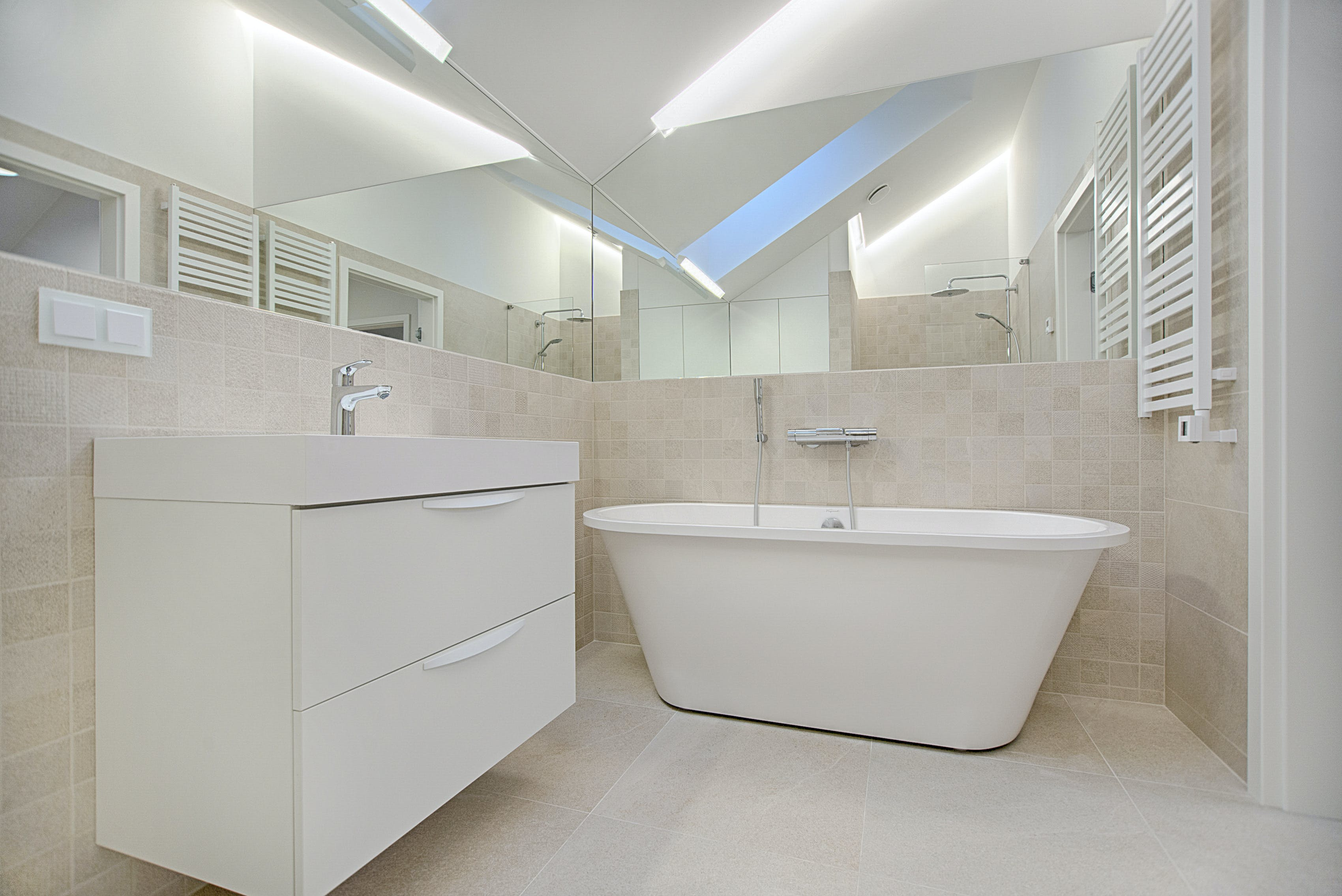 White Bathtub in Bathroom