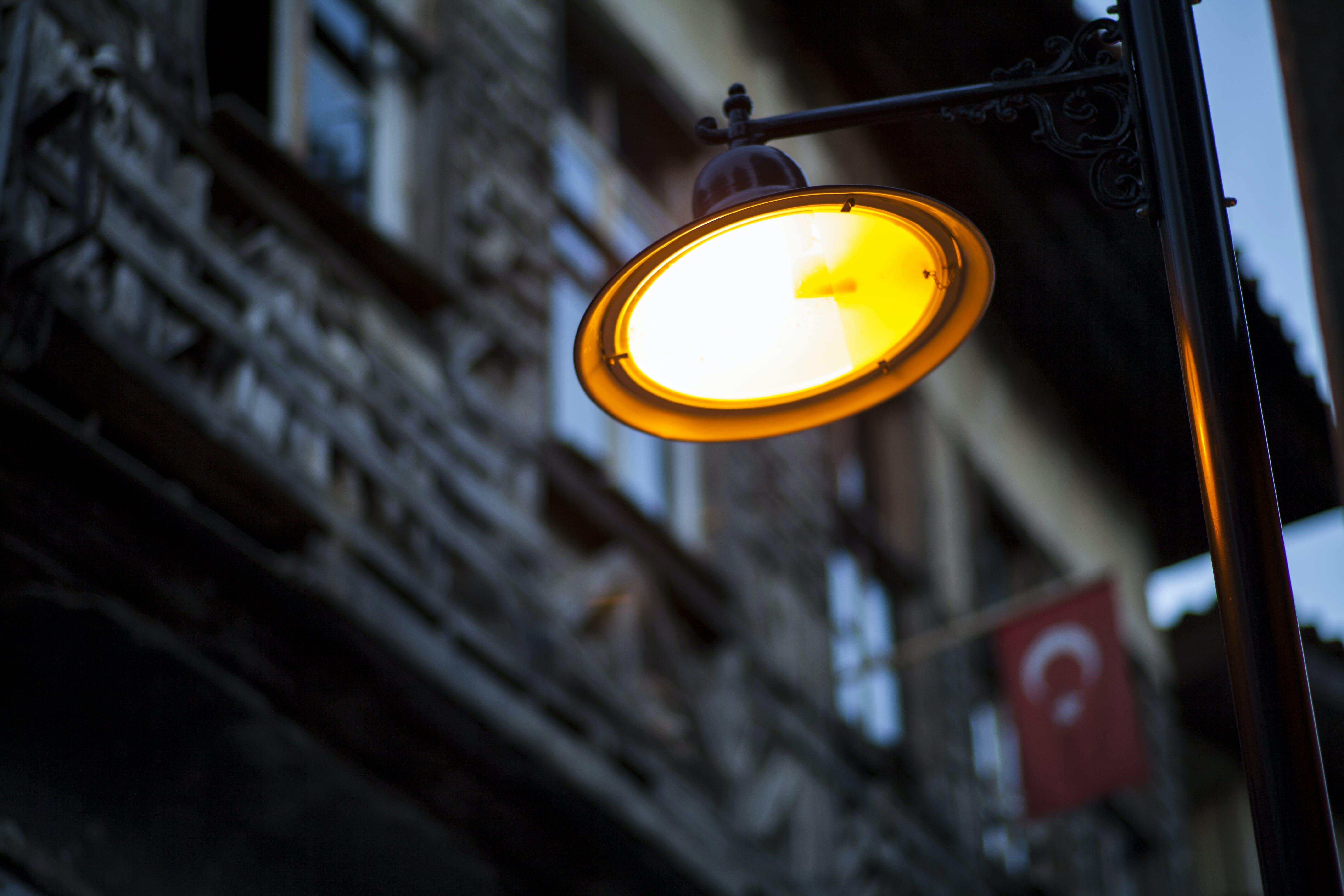 Black Electric Post Lamp