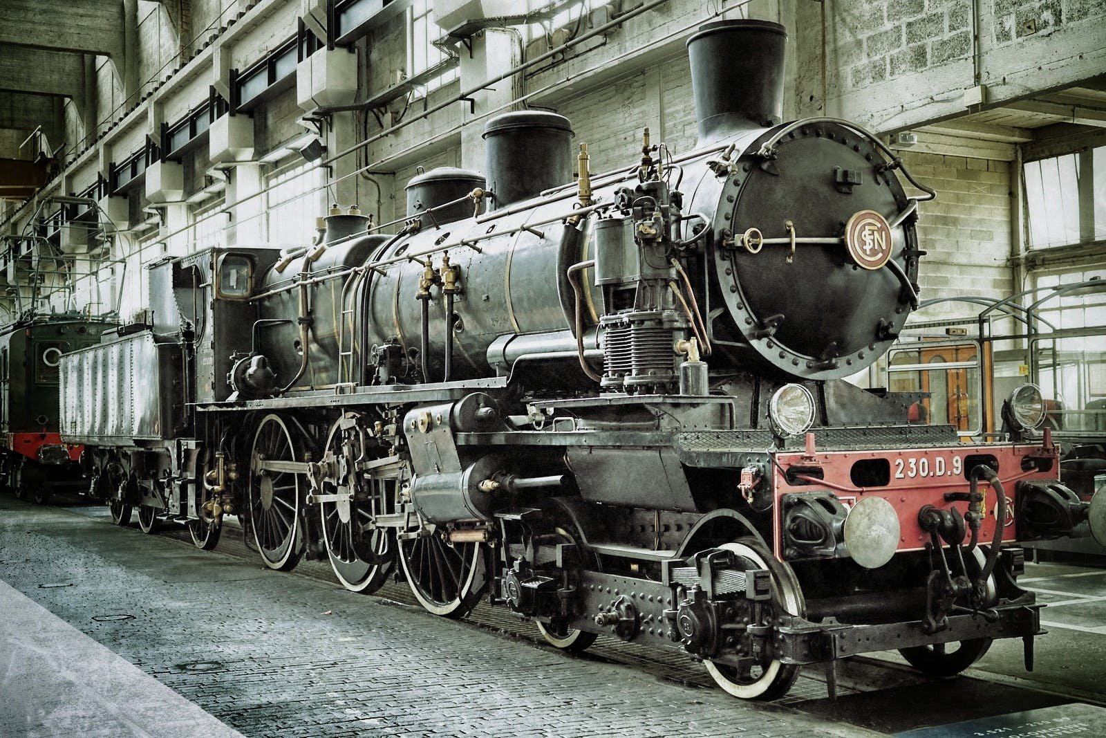 Black and Red Metal Train