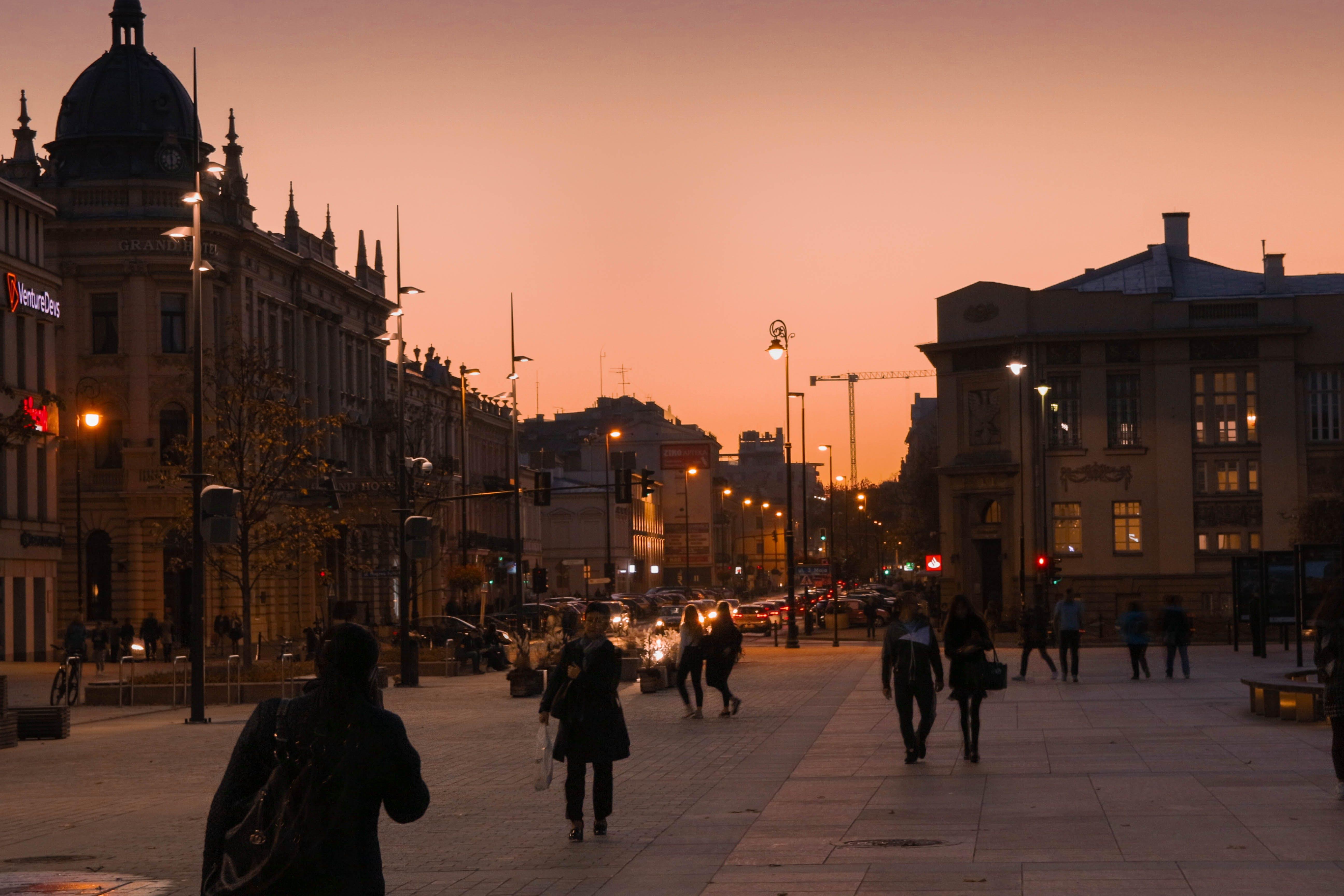Free stock photo of city lights, lublin, poland, sky