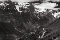 snow, black-and-white, landscape
