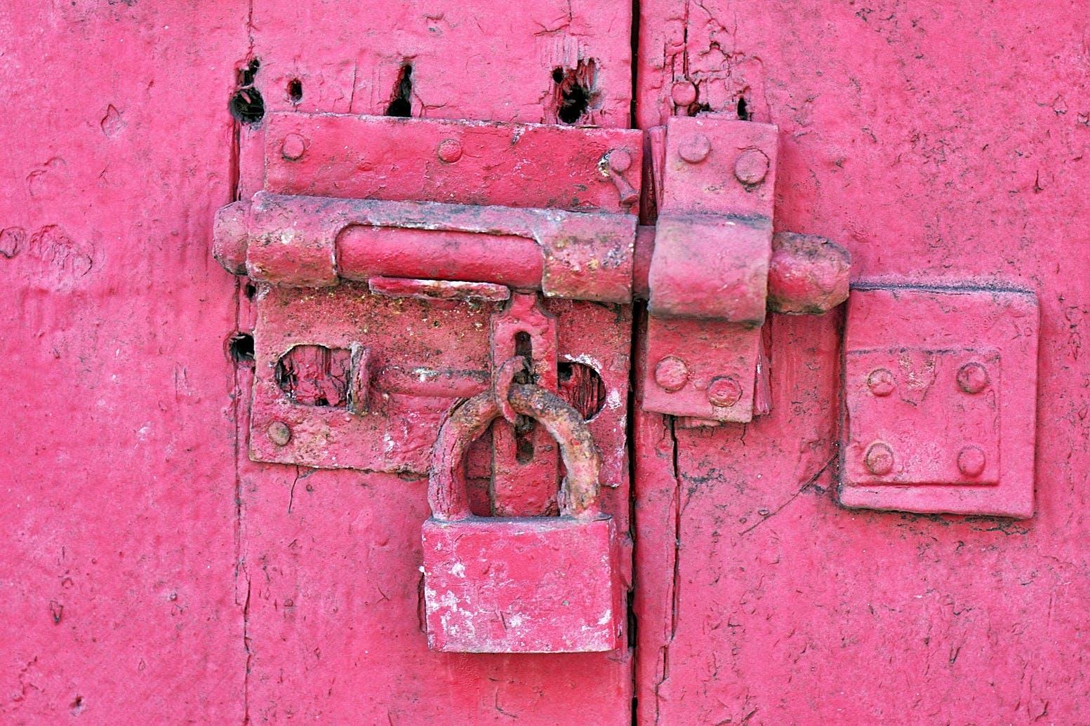 Red Metal Padlock