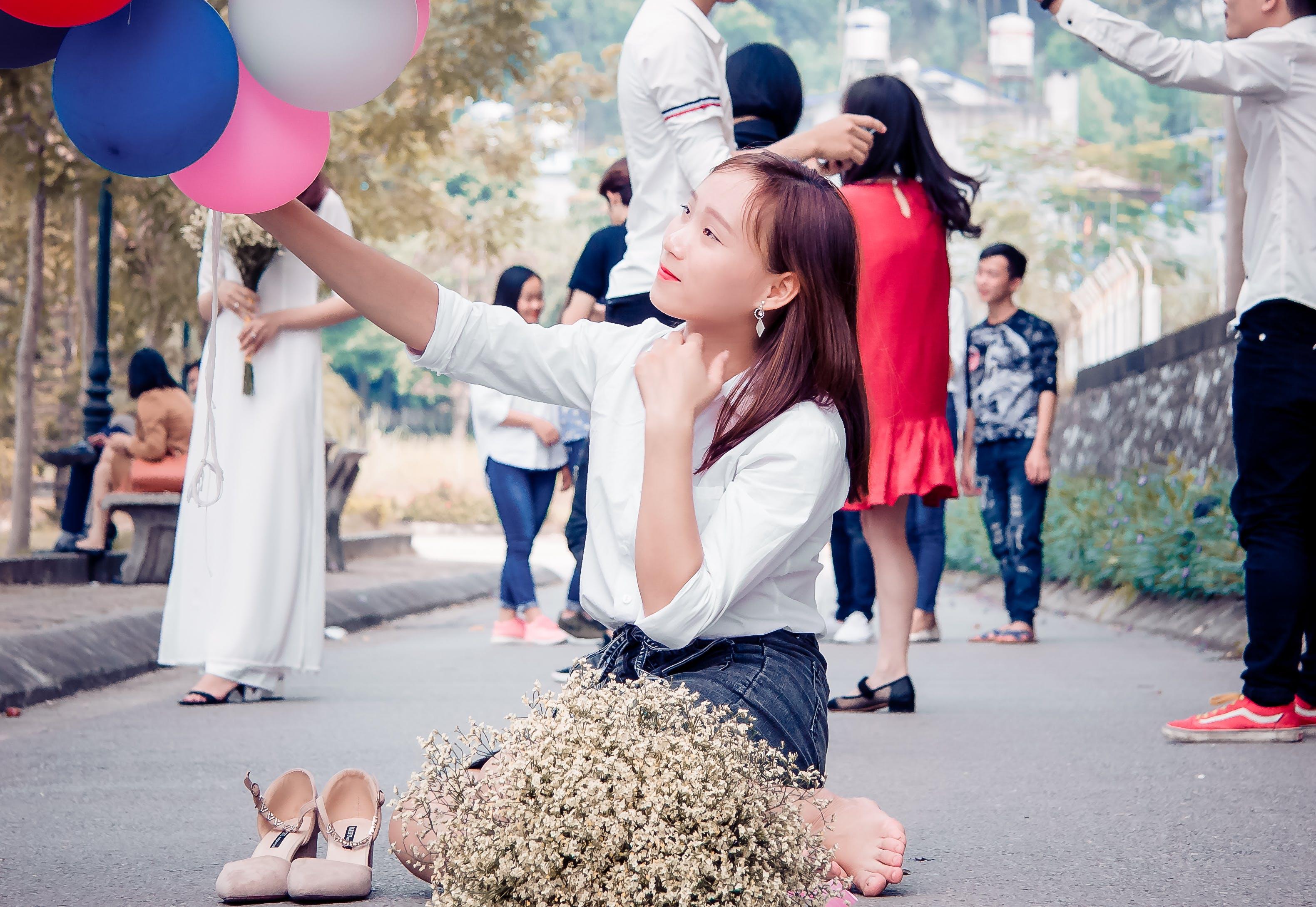 Free stock photo of asian girl, baby girl, balloons, beautiful