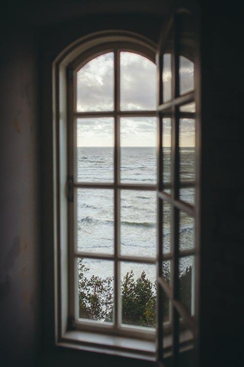 fyr vindue, fyrtårn, gennem et vindue