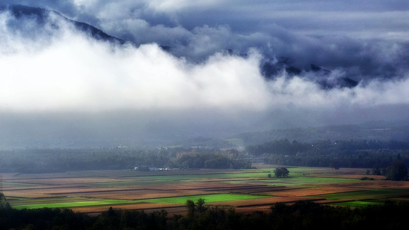 Landscape Photography of Green and Brown Rice Field Surrounded With White and Blue Clouds Near Black Mountains