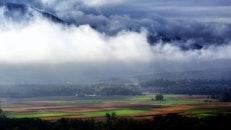 landscape, clouds, field
