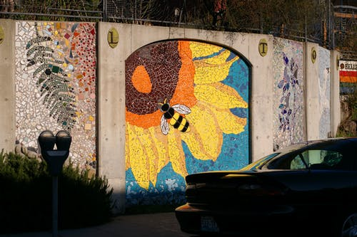 Sunflower and Bee Wall Painting