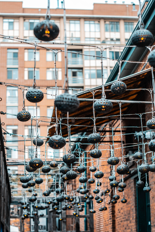 Black String Lanterns Outdoors