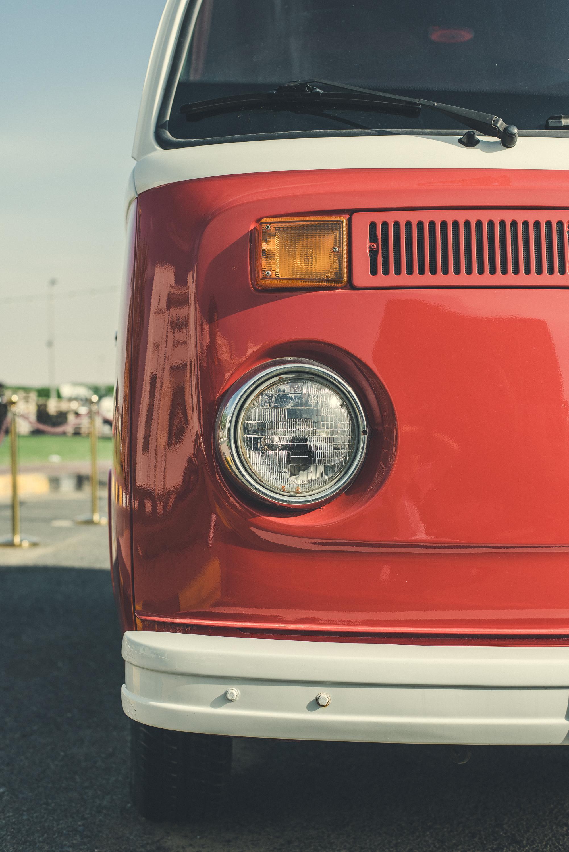 red and white volkswagen van
