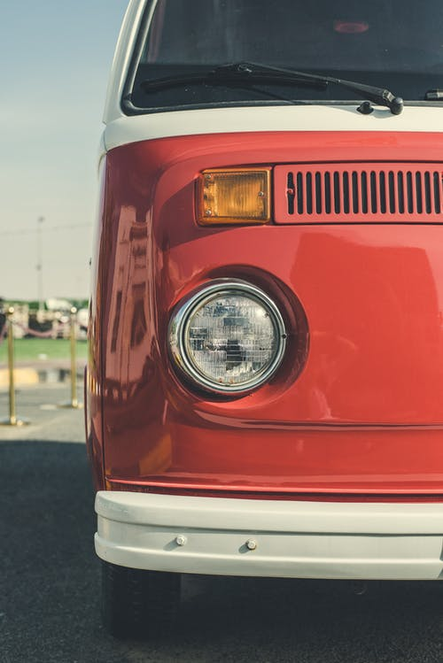 Red and White Volkswagen Van