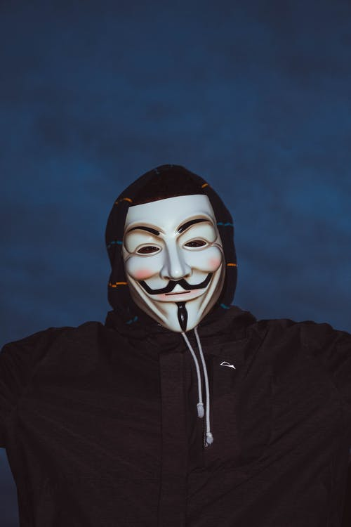 Person Wearing Guy Fawkes Mask and Hoodie