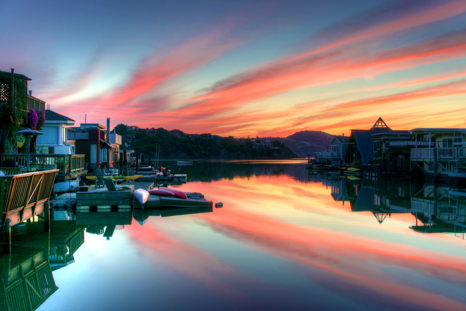 Landscape Photography of Canal and Houses