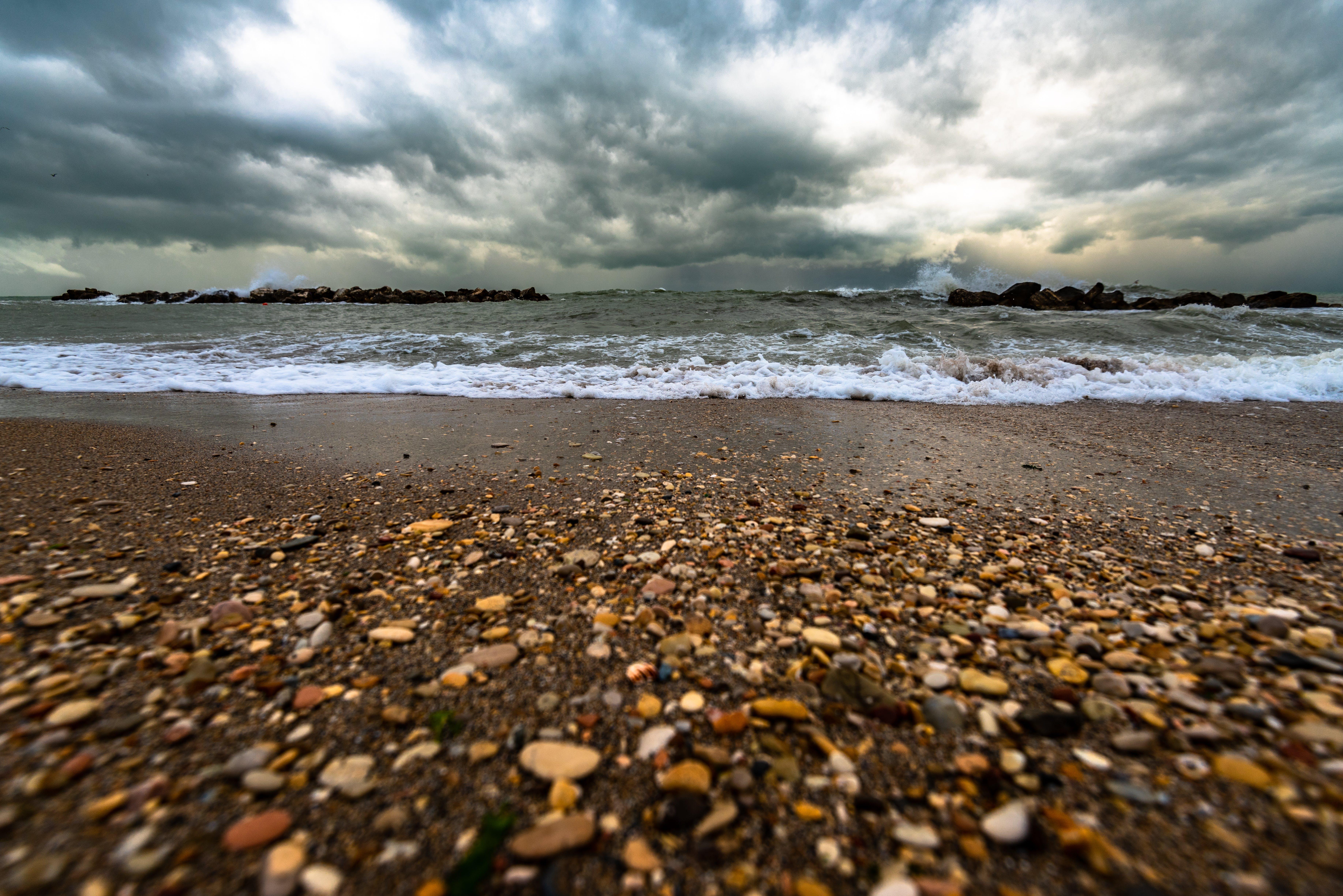 de acomiadar-se, ennuvolat, mar, oceà