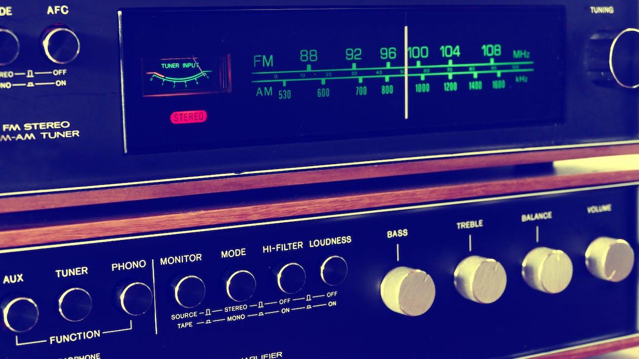 Grey and Black Transistor Radio