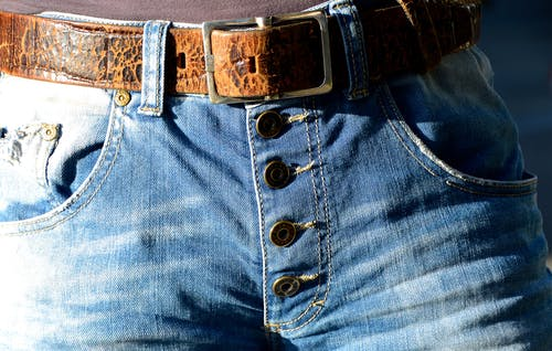 Blue Denim Button Up Bottoms With Belt