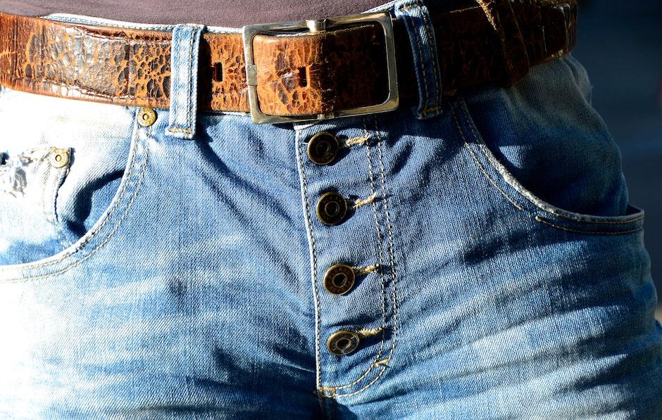 Blue Denim Button Up Bottoms With Belt