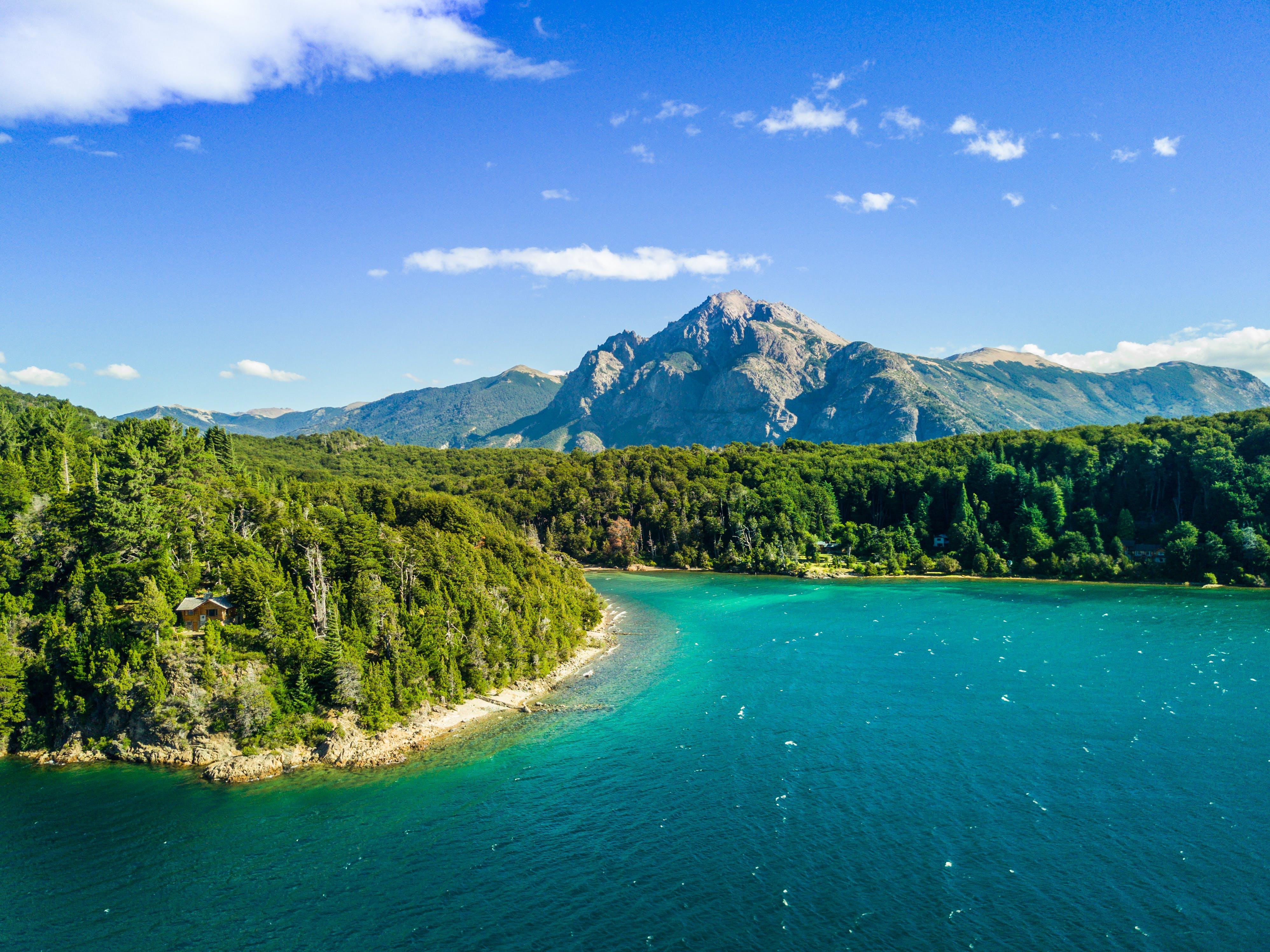 bjerge, dagslys, hav