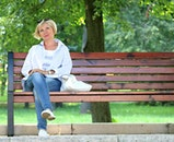 bench, person, woman
