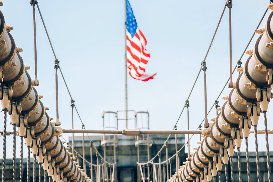 Gray Bridge Across Us Flag