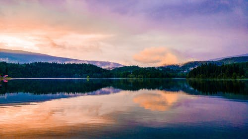 ミラーレイク, 反射, 夕方, 夜明けの無料の写真素材