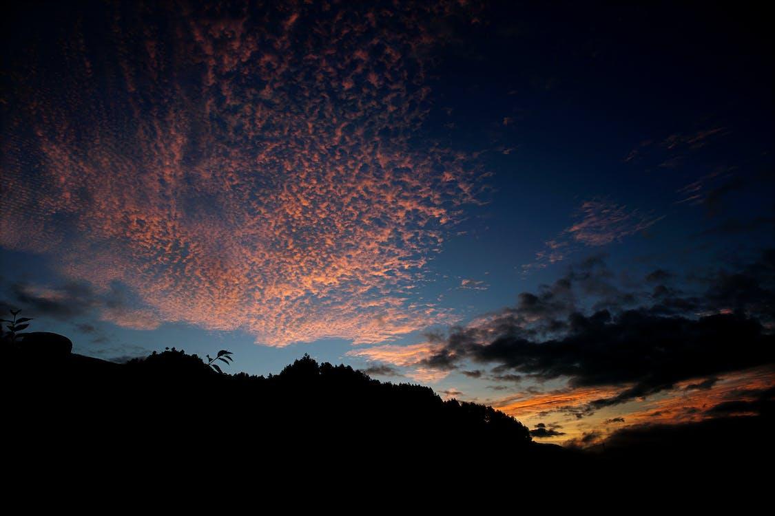 fjell, gylden time, himmel