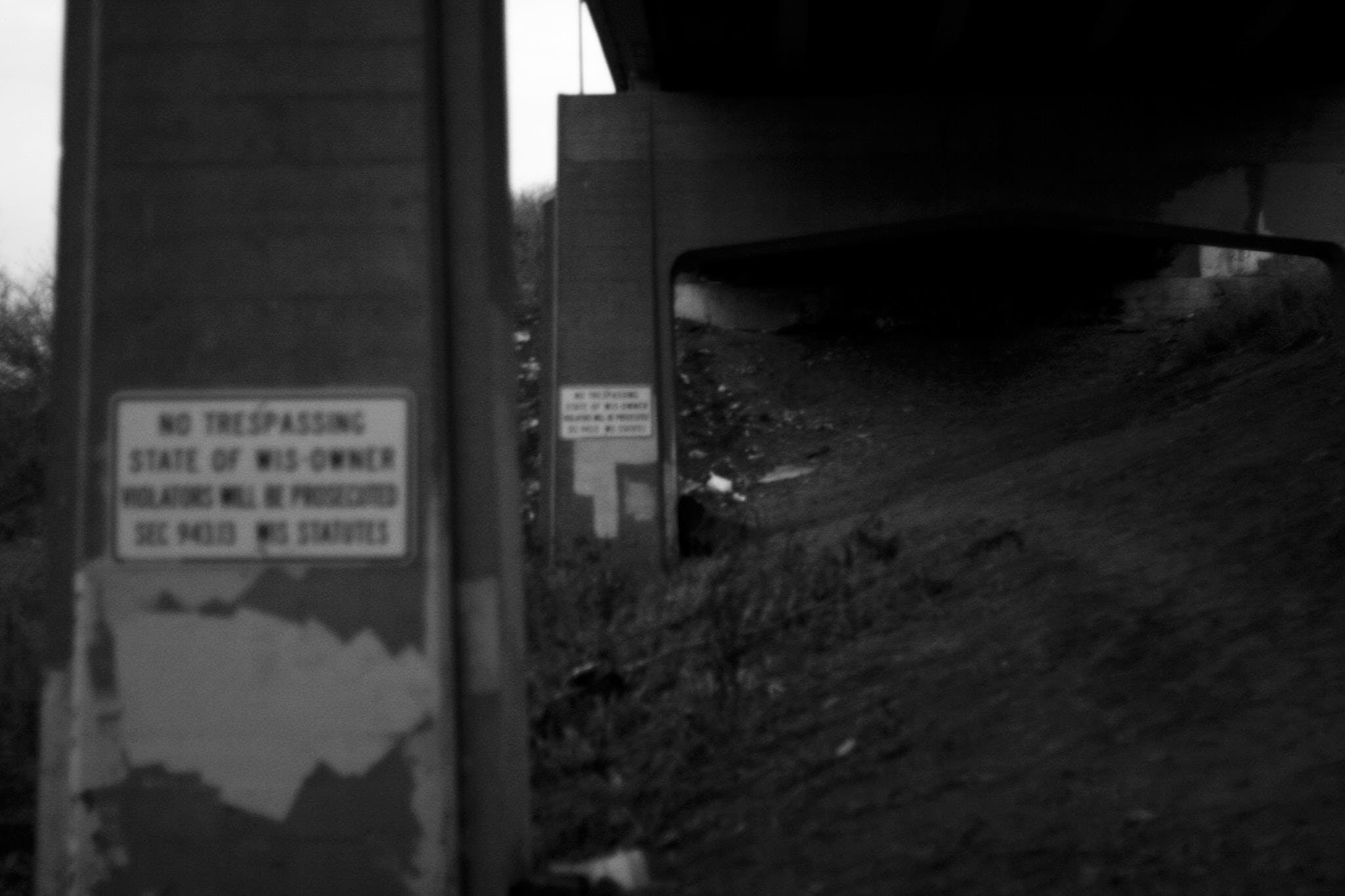 Free stock photo of black and white, bridge, dark, no tresspassing