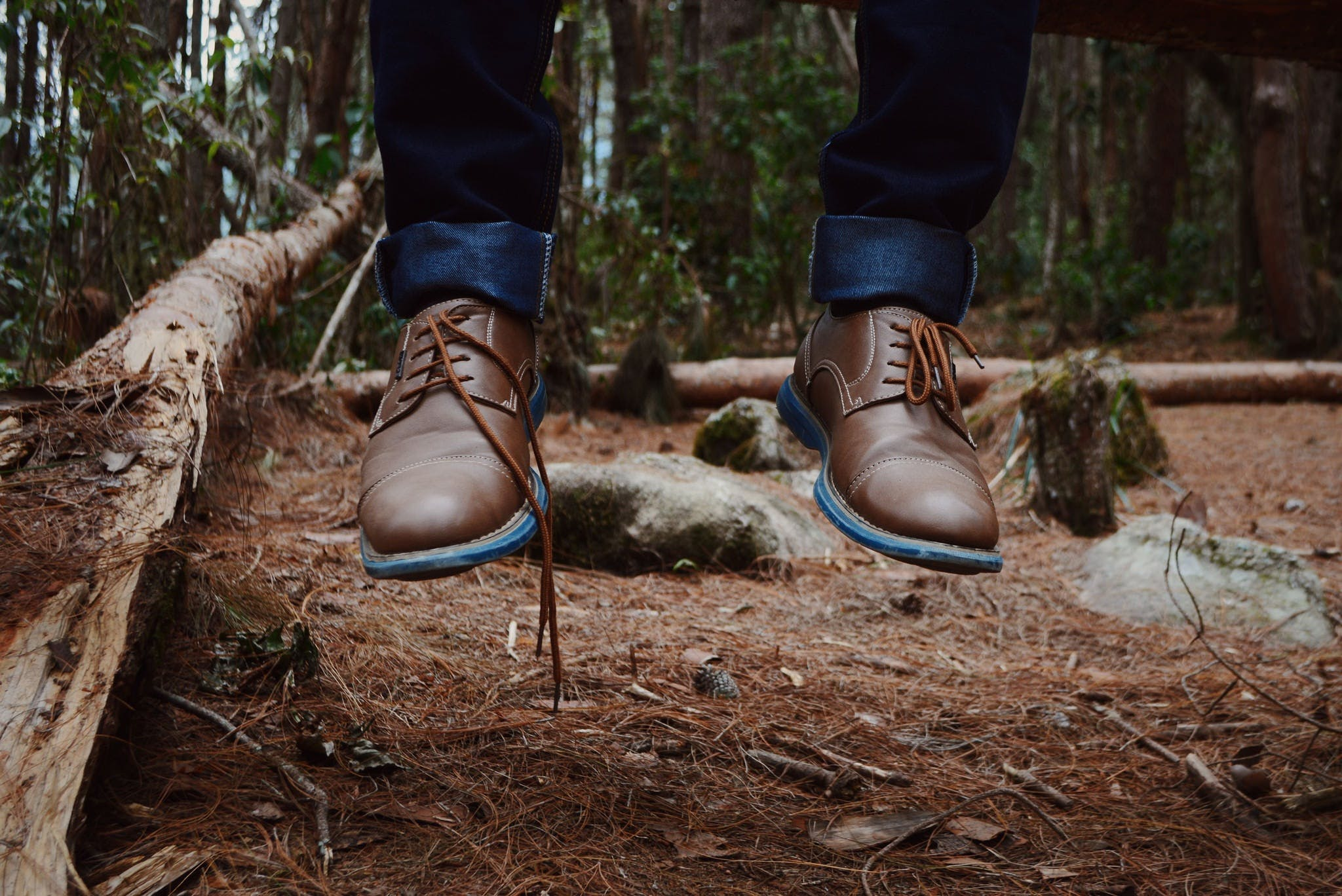 Photography of Person Wearing Brown Leather Shoes Near Brown Log on Green Forest during Daytime