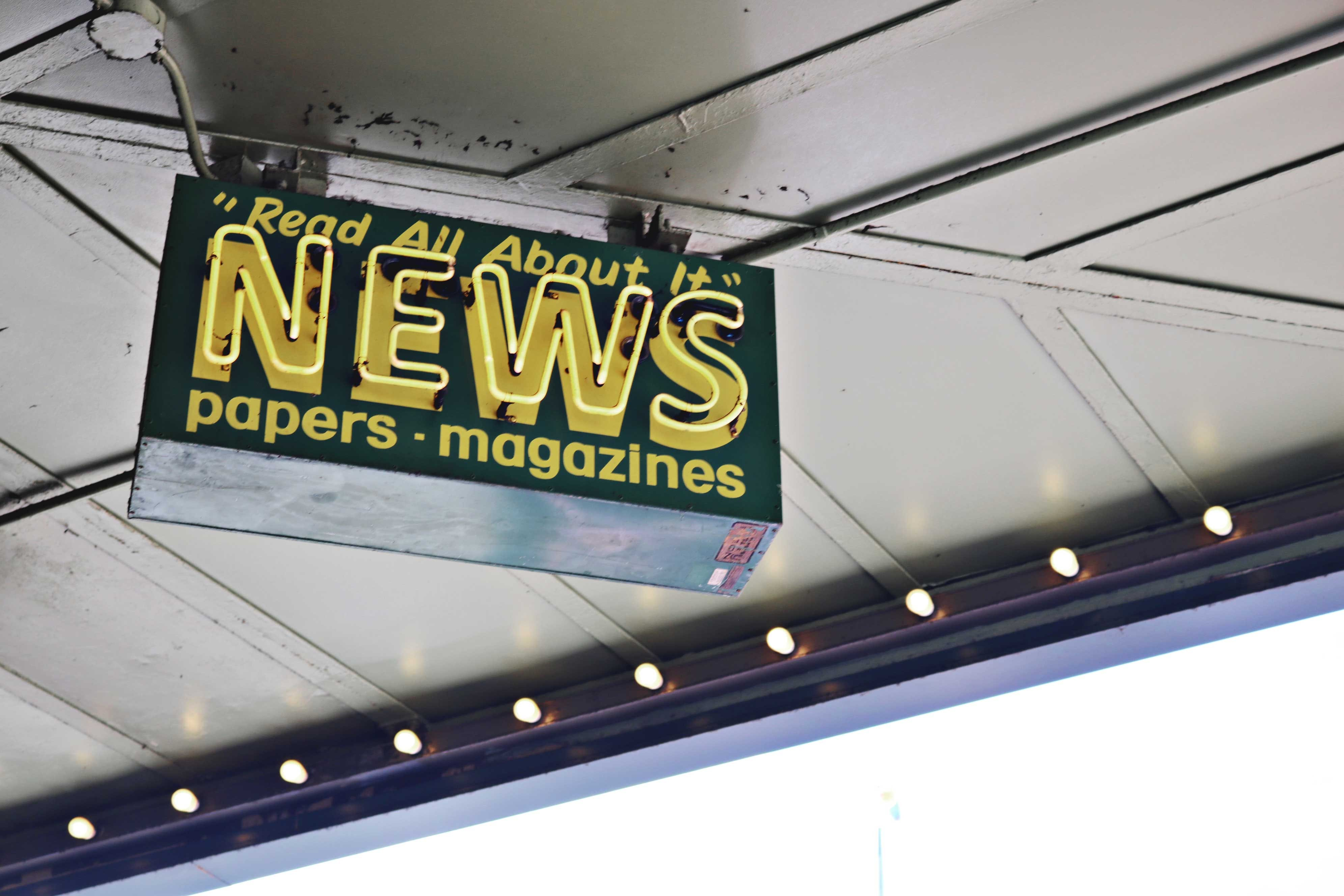 Free stock photo of magazine, media, neon sign, news