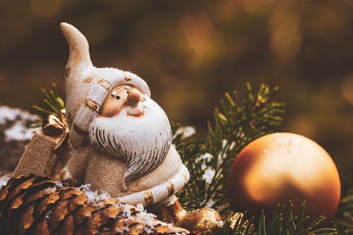 Santa Claus Beside Brown Bauble Decor