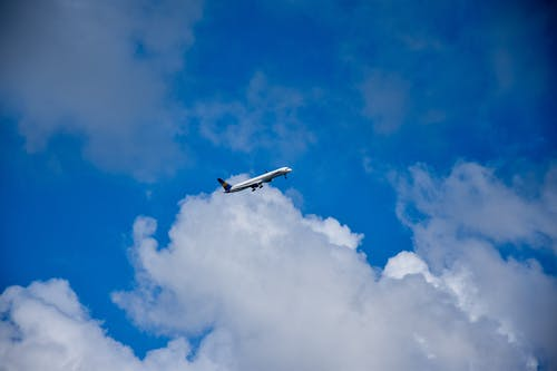 Free stock photo of airplane, blue sky, clouds