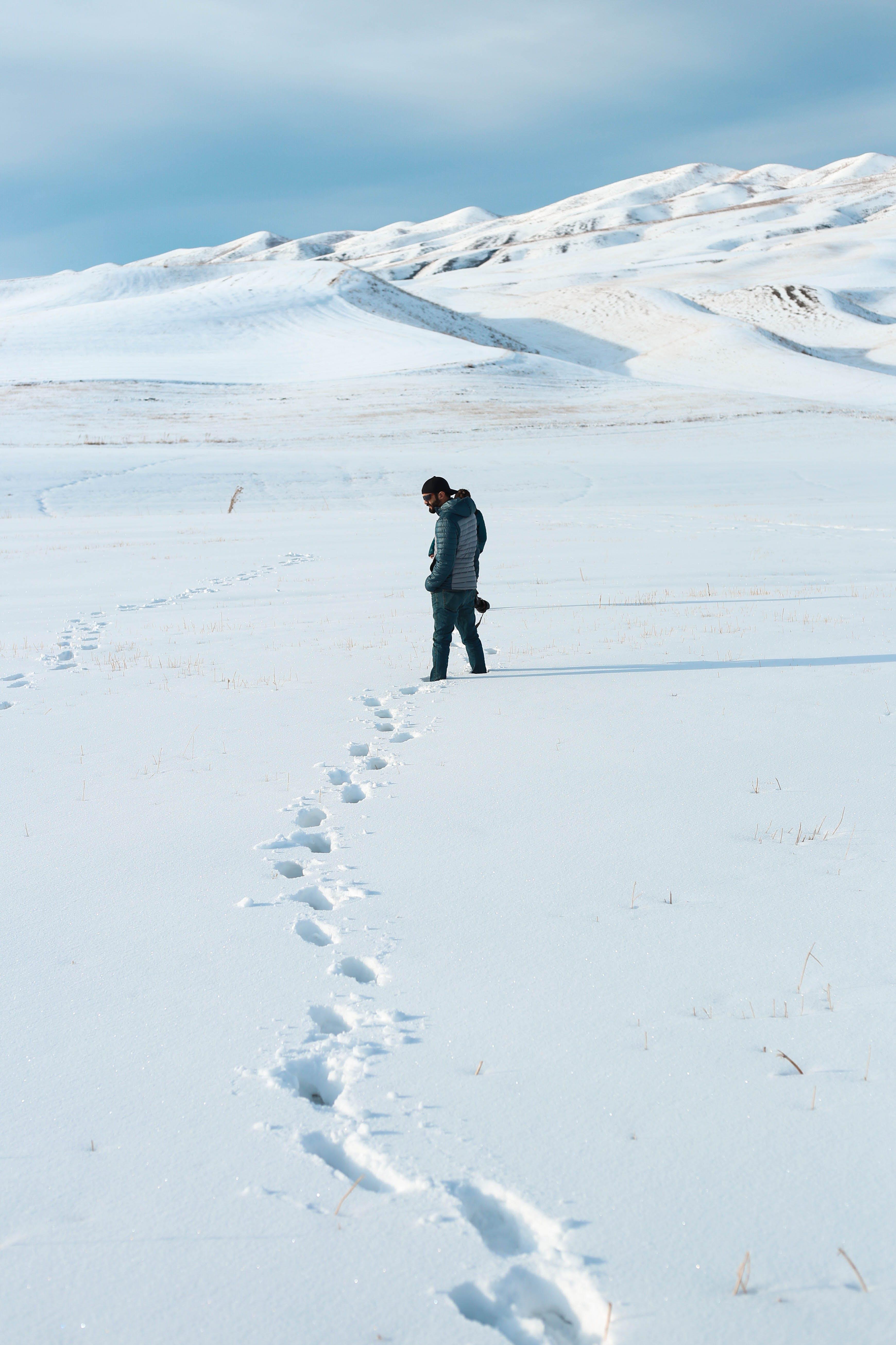 Man Standing on Snow Area