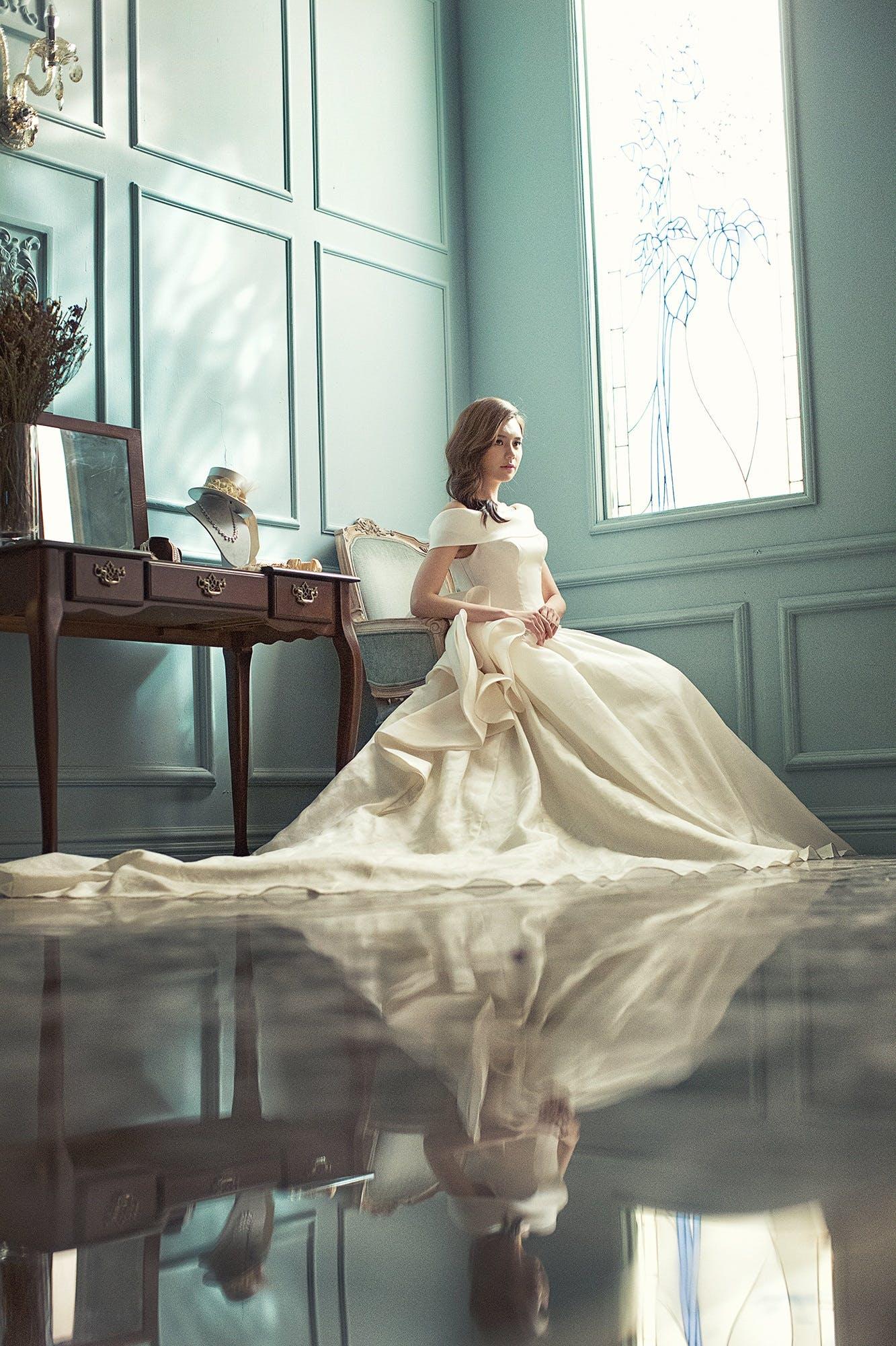 Free stock photo of fashion, bride, white dress, young woman