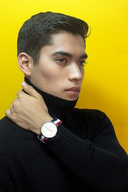 analógové hodinky, atraktívny, chlap