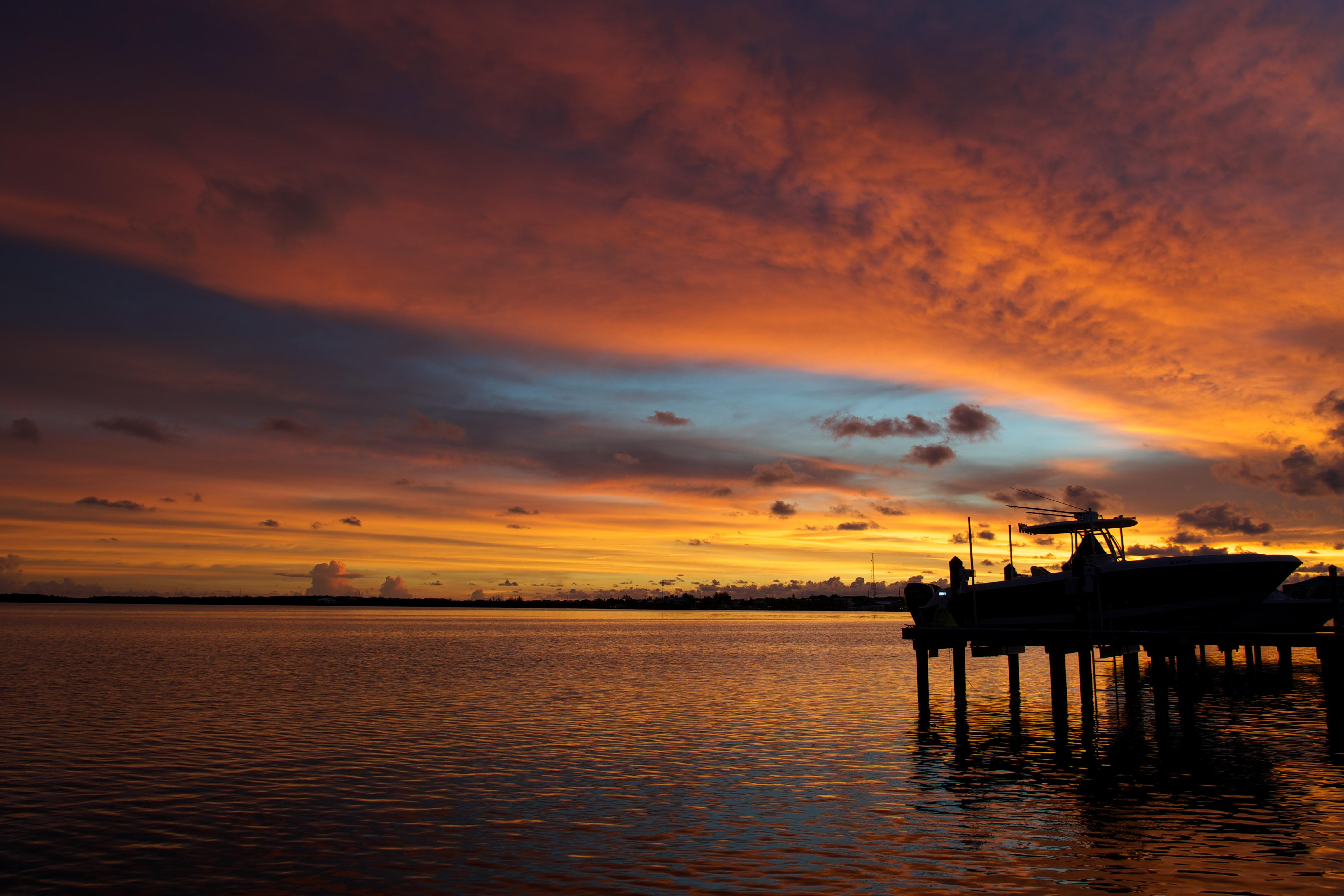 Silhouette of Wooden Dock on Sea during Golden Hour