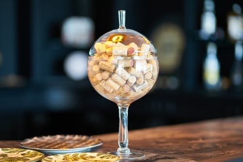 Clear Glass Bowl With Corks