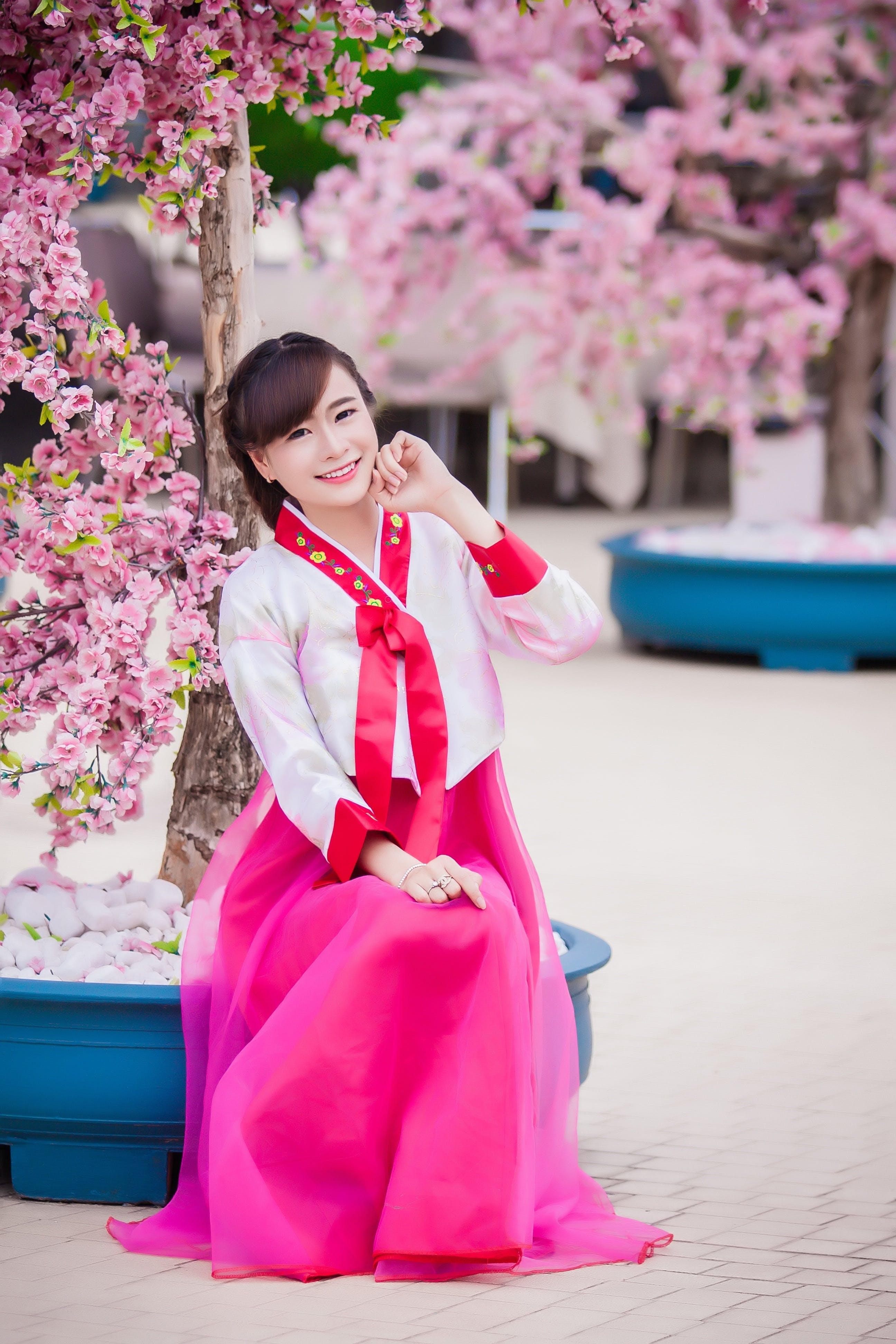 Woman Wearing Pink Kimono