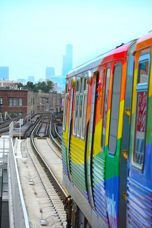 Free stock photo of chicago, chicago skyline, colorful train
