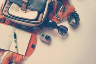 sunglasses, camera, notebook