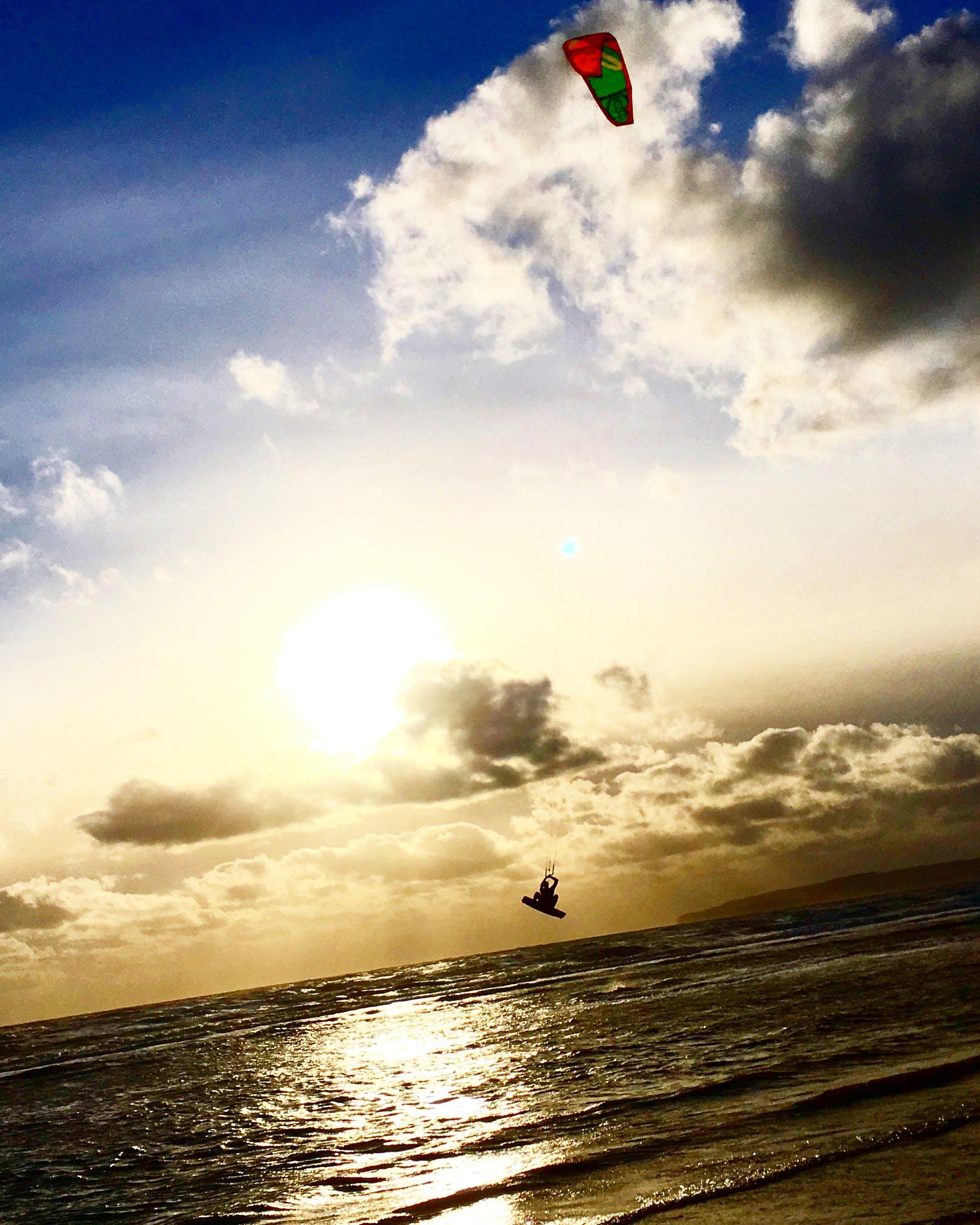 Free stock photo of kiteboarding, sand beach, sea