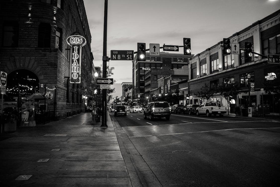 alb-negru, arhitectură, autoturisme