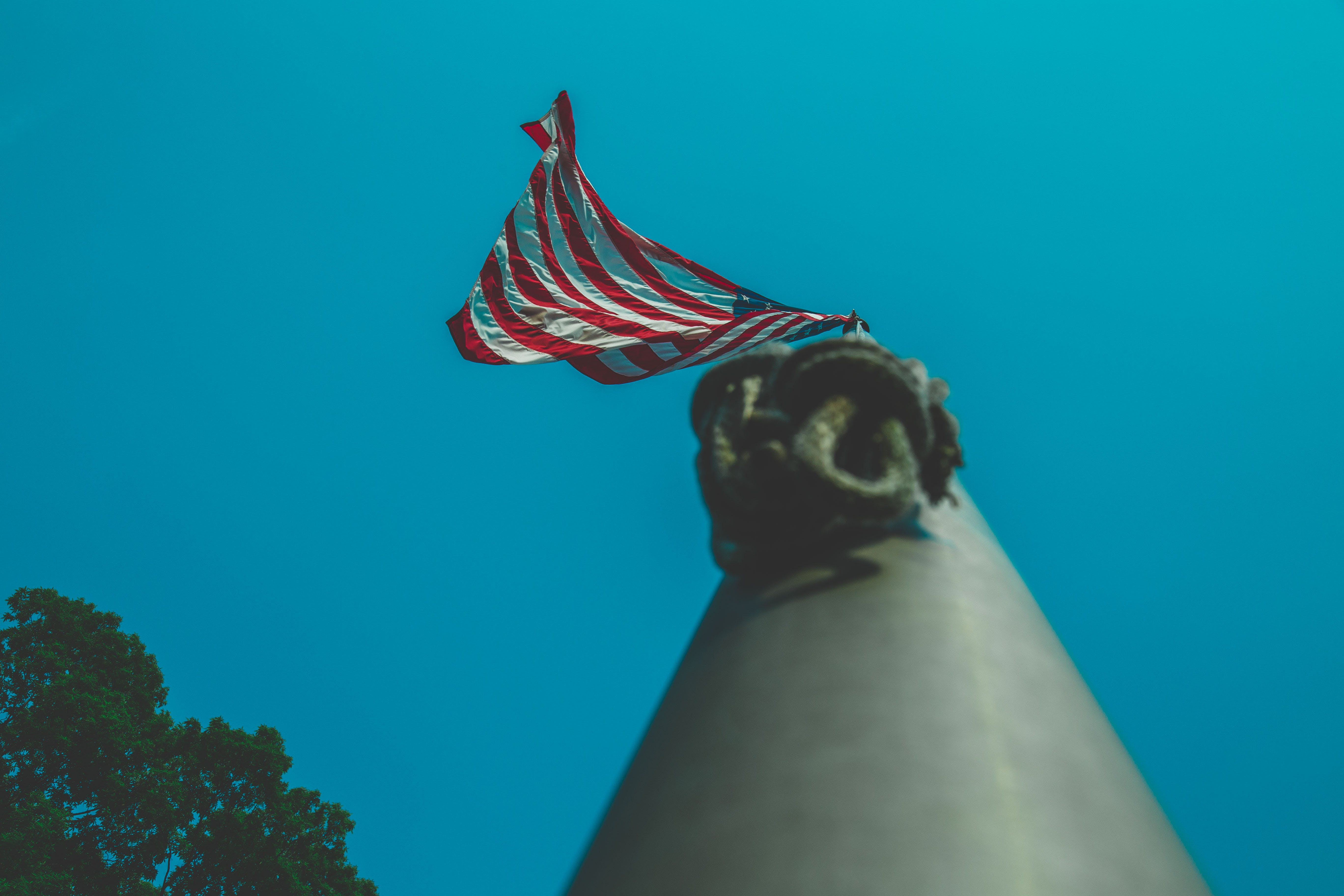 Low-angle Photography of Us Flagpole